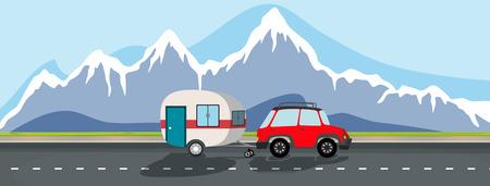 A caravan trip to snow mountain illustration