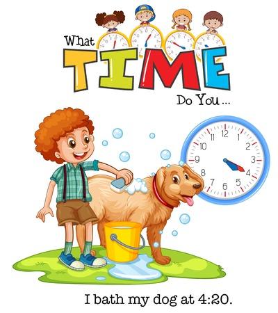 A boy bath the dog at 4:20 illustration