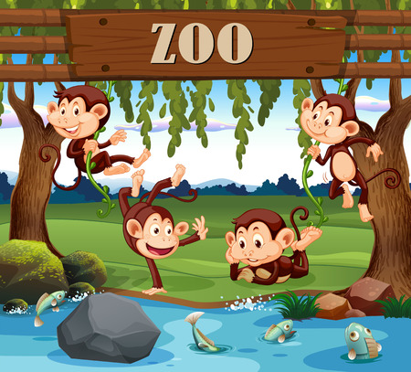 Una familia de monos en la ilustración del zoológico.