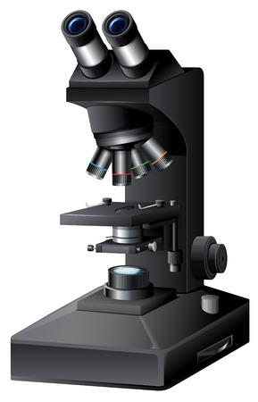 A black microscope on white backgroung illustration Illustration