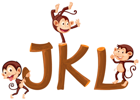 Monkey and wooden alphabet illustration Stock fotó - 108104942