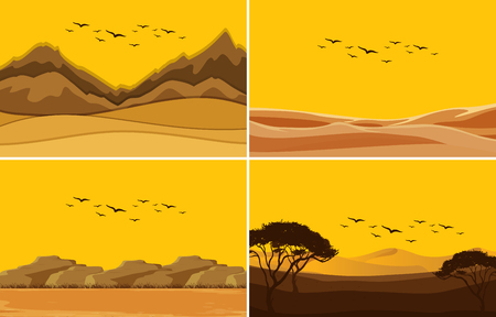 A set of deset sunset illustration Ilustrace