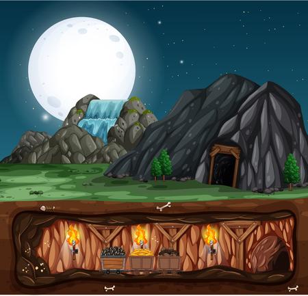 Noc w kopalni kamienia ilustracja