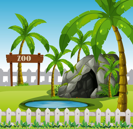 An empthy exhibit zoo illustration