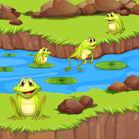 Flogs living in the river pond illustration Illustration