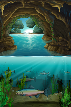 Inside the cabe underwater illustration Stock Illustratie