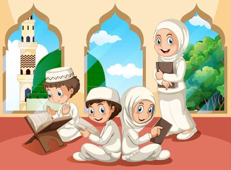 Gruppo di bambini musulmani all'illustrazione della moschea Vettoriali