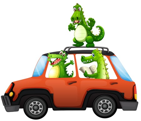 Crocodile travel by car illustration Vectores