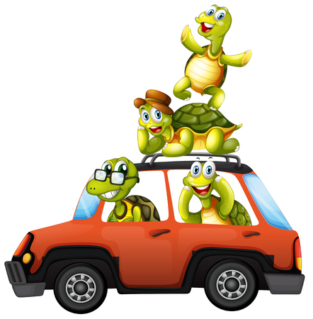 A turtle family on a car illustration 矢量图像