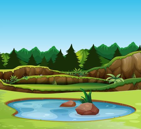 Ilustracja krajobraz pięknej przyrody