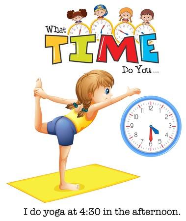 A young woman yoga at 4:30 illustration