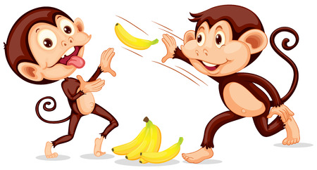 Monkey throwing a banana illustration Vettoriali