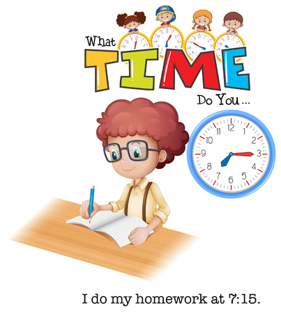 A boy doing homework at 7:15 illustration