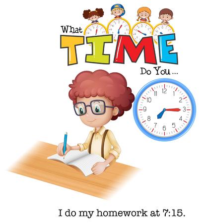 Un niño haciendo la tarea a las 7:15 ilustración.
