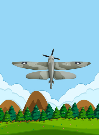 Army airplane flying on the sky illustration Vecteurs
