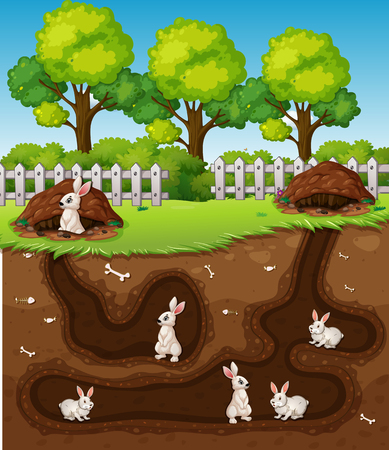 Rabbit digging the hole illustration Vettoriali