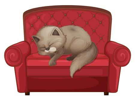 Un chat qui dort sur le canapé illustration
