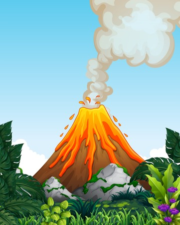 A dangerous volcano eruption illustration