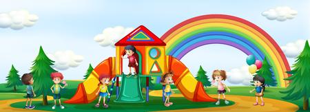 Kids playing at playground illustration