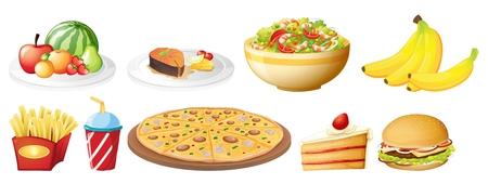 A set of food on white background illustration Vectores