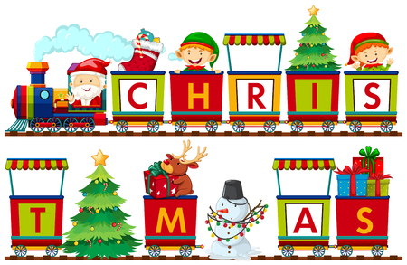 A set of Christmas elements illustration Ilustração