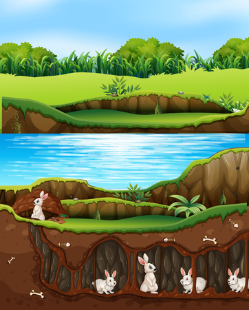 Rabbit family living in nature next to river illustration Stock Illustratie