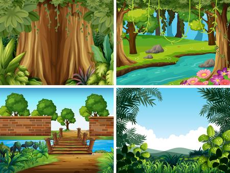 un conjunto de ilustración de paisaje de naturaleza Ilustración de vector