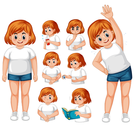 Girl with diabetes exercise illustration