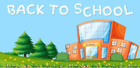 Back to school and school building illustration