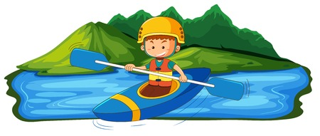 A young man canoeing in the lake illustration
