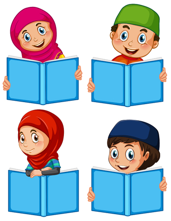 A set of muslim with book illustration
