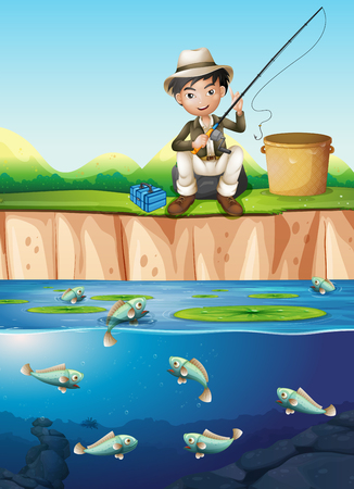 A man fishing at the pond illustration Illustration