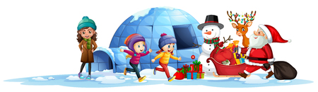 Happy children receive present from santa illustration
