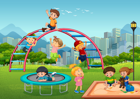 Happy children in playground illustration