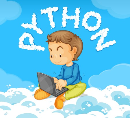 Young boy on laptop python concept illustration Vettoriali