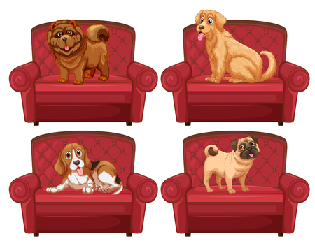 Dogs on the couch illustration