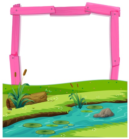 Pink wooden frame and river landscape illustration