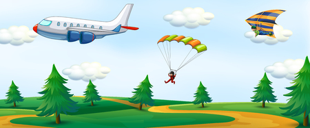 People with sky activity and landscape illustration