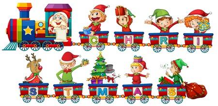 Christmas train on white background illustration Stock Illustratie