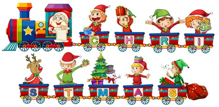 Christmas train on white background illustration Illustration