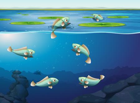 Conjunto de ilustración de peces bajo el agua