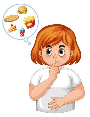 Niña diabética siente hambre ilustración