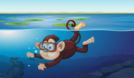 A monkey diving in the pond illustration
