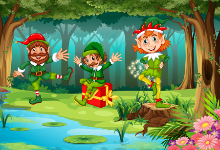 Christmas elf in forest illustration