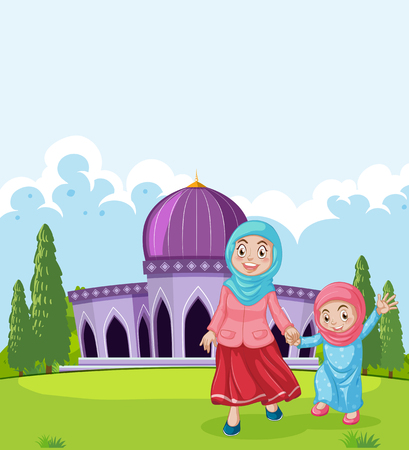 A muslim mother and daughter in front of mosque illustration