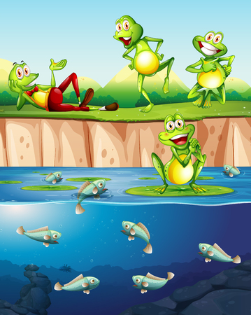 Frog next to the pond illustration Illustration