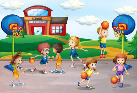 Students playing basketball in physical education illustration
