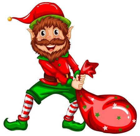 Happy elf carry sack illustration