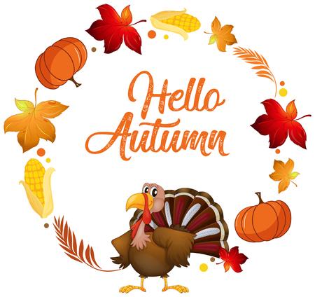 Une dinde sur l'illustration du modèle de carte d'automne