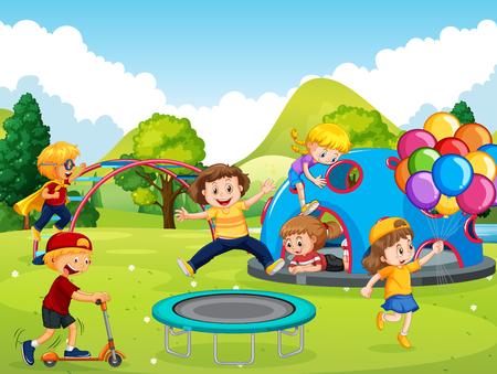 Niños jugando en la ilustración del patio Ilustración de vector